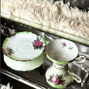 Vintage Lefton Hand-painted Teacup and Saucer